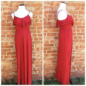 Forever 21 red Ruffle spaghetti strap Maxi dress
